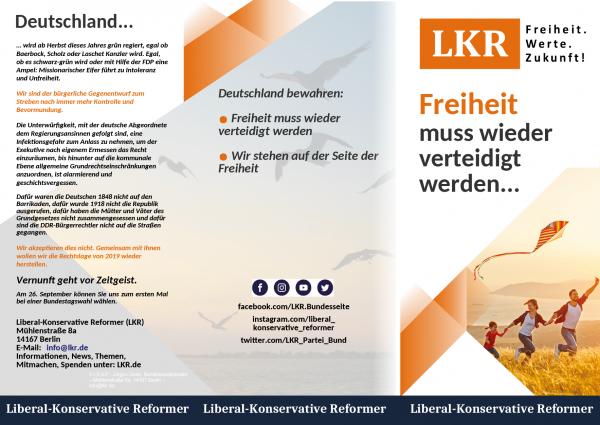 Flyer Freiheit (Wickelfalz din lang -1.000/5.000/10.000 Stk)
